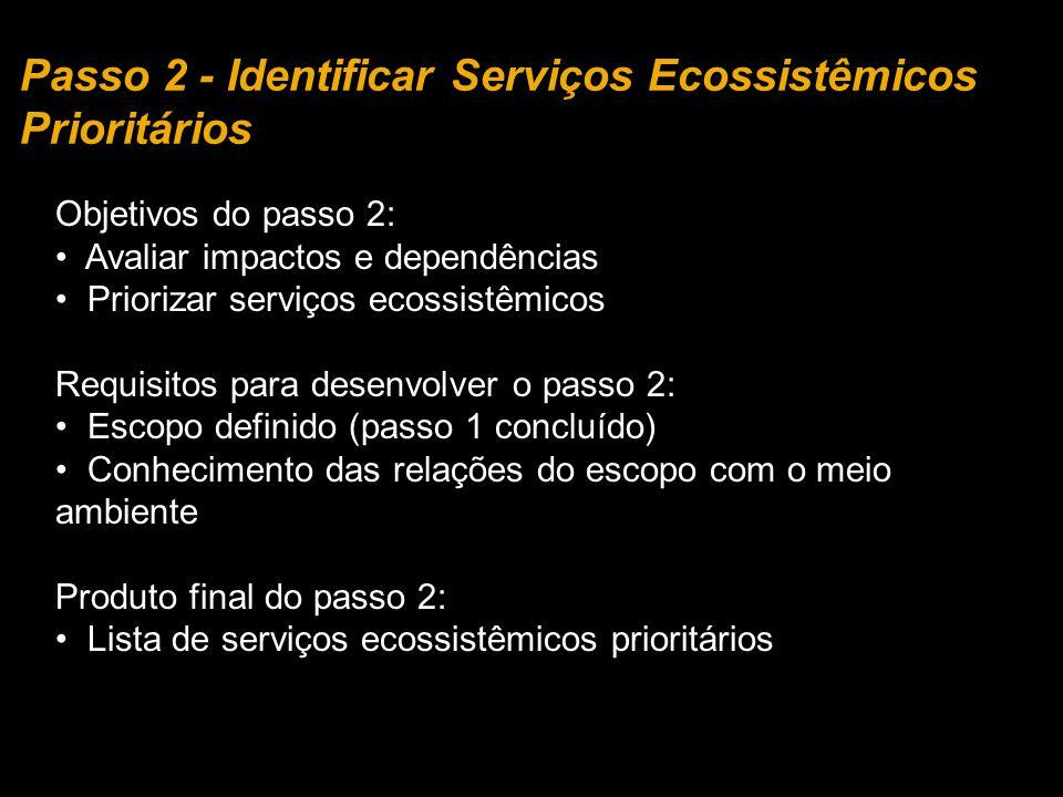 Passo 2 - Identificar Serviços Ecossistêmicos Prioritários