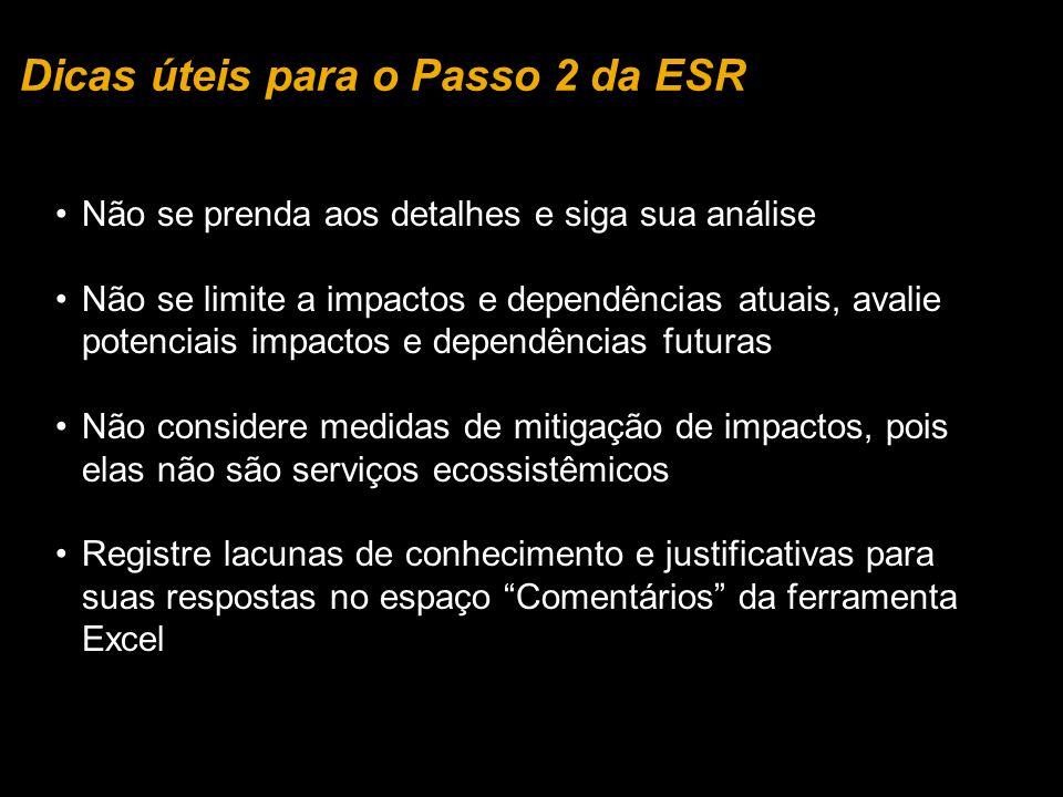 Dicas úteis para o Passo 2 da ESR