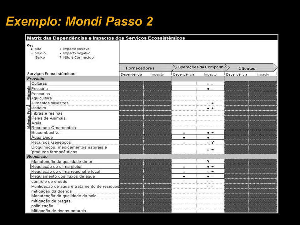 Exemplo: Mondi Passo 2 EXEMPLO MONDI: