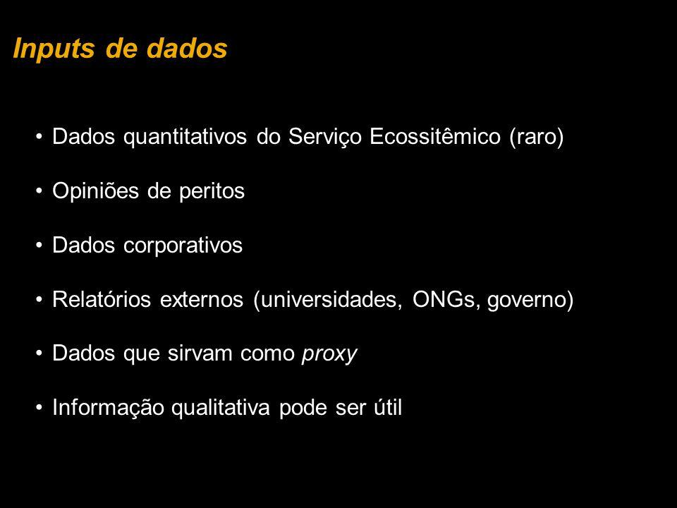 Inputs de dados Dados quantitativos do Serviço Ecossitêmico (raro)