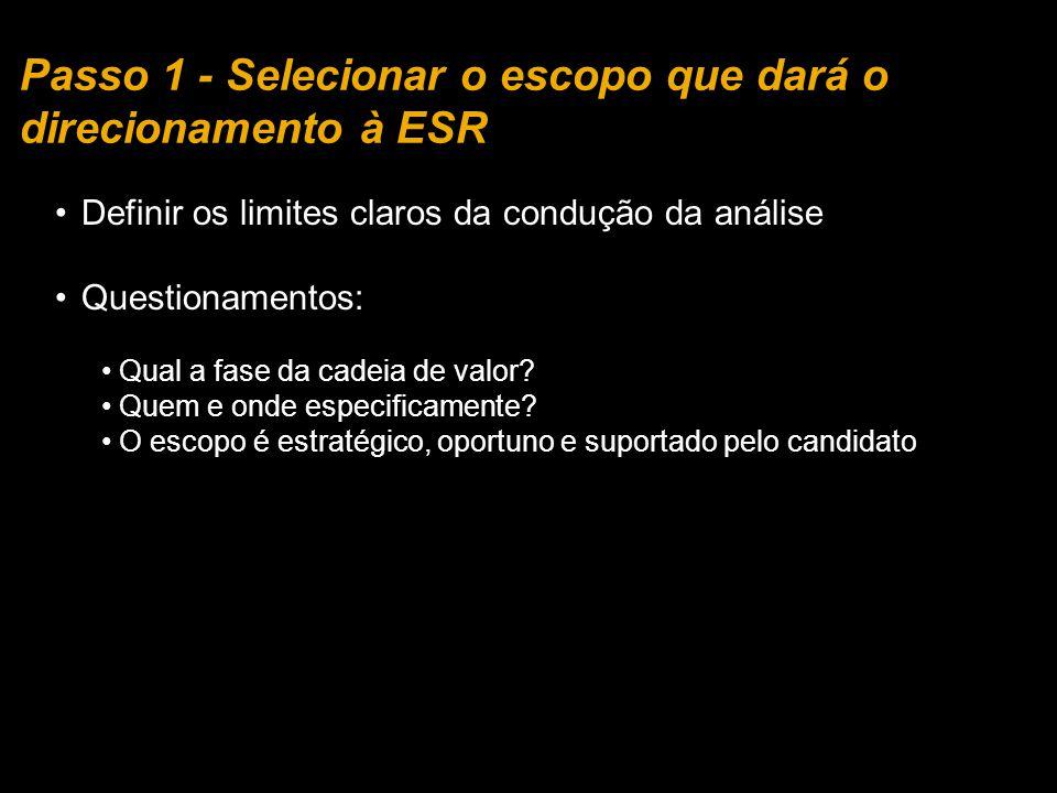 Passo 1 - Selecionar o escopo que dará o direcionamento à ESR