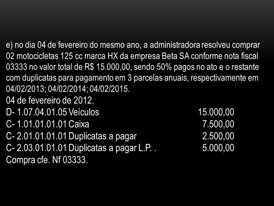 C- 2.03.01.01.01 Duplicatas a pagar L.P. . 5.000,00