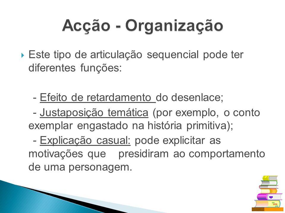 Acção - Organização Este tipo de articulação sequencial pode ter diferentes funções: - Efeito de retardamento do desenlace;