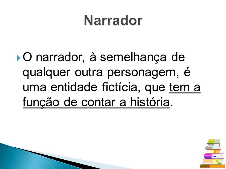 Narrador O narrador, à semelhança de qualquer outra personagem, é uma entidade fictícia, que tem a função de contar a história.