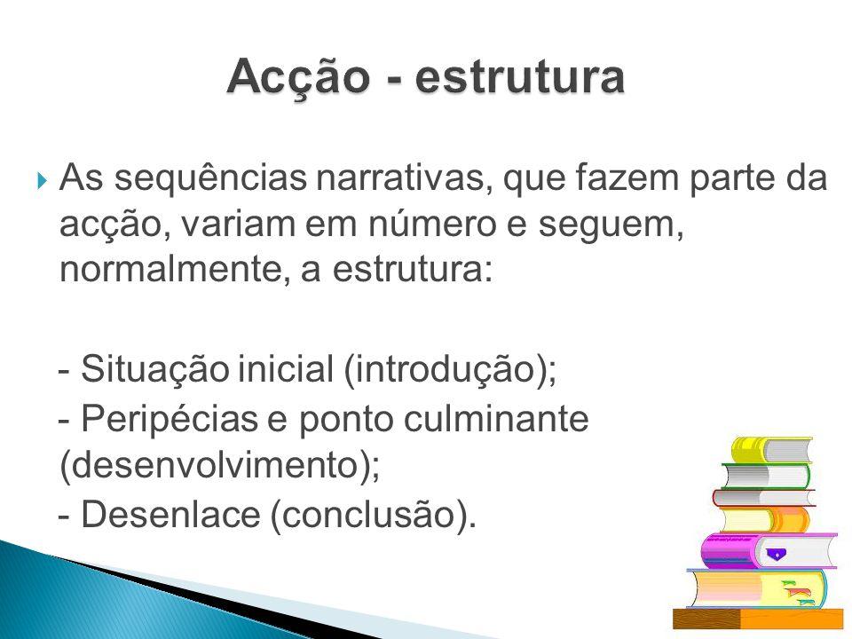 Acção - estrutura As sequências narrativas, que fazem parte da acção, variam em número e seguem, normalmente, a estrutura: