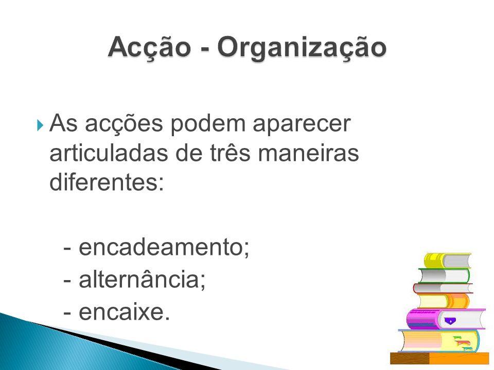 Acção - Organização As acções podem aparecer articuladas de três maneiras diferentes: - encadeamento;