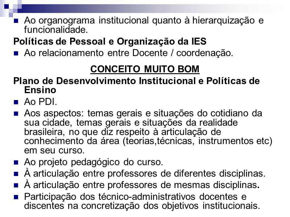 Ao organograma institucional quanto à hierarquização e funcionalidade.