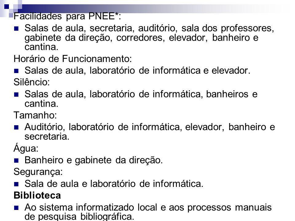 Facilidades para PNEE*: