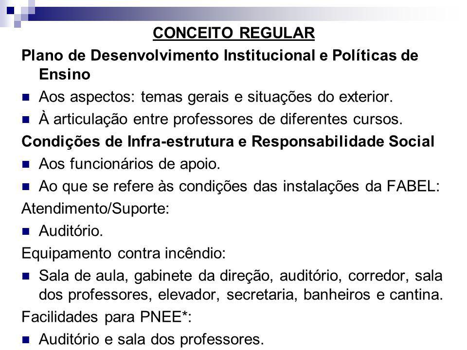 CONCEITO REGULAR Plano de Desenvolvimento Institucional e Políticas de Ensino. Aos aspectos: temas gerais e situações do exterior.