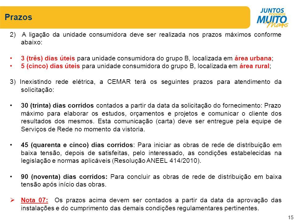 Prazos 2) A ligação da unidade consumidora deve ser realizada nos prazos máximos conforme abaixo: