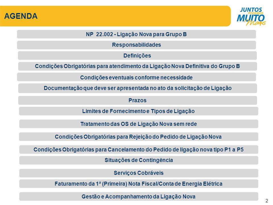 AGENDA NP 22.002 - Ligação Nova para Grupo B Responsabilidades