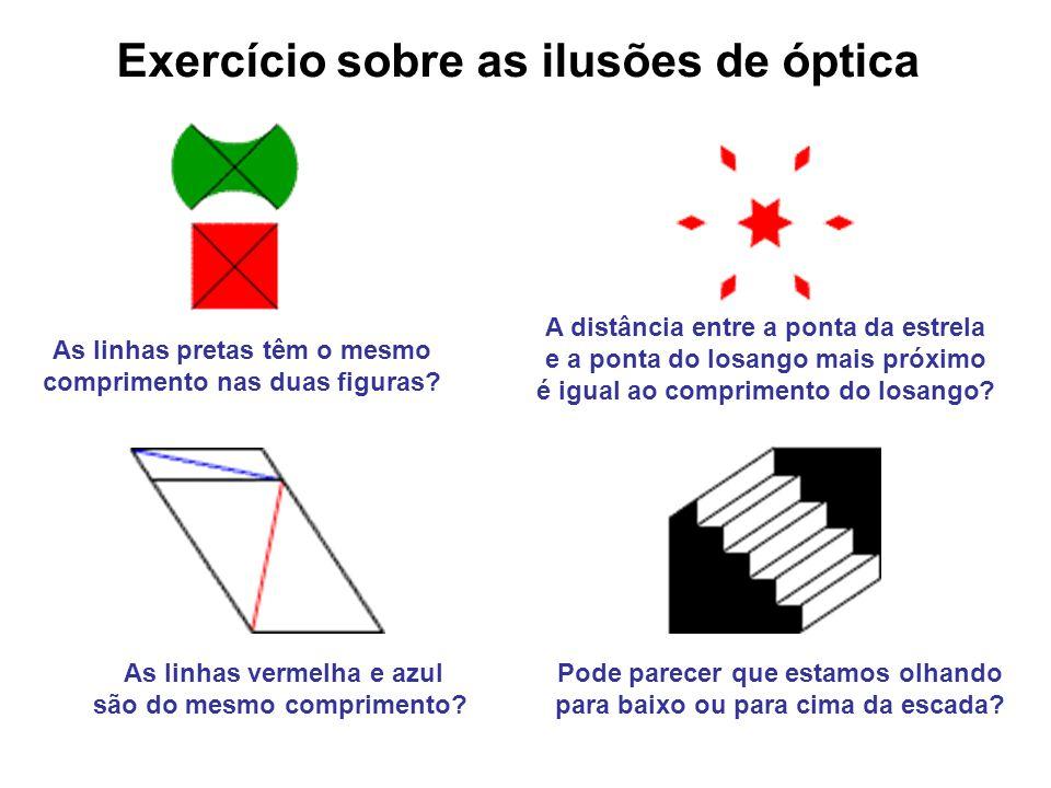 Exercício sobre as ilusões de óptica