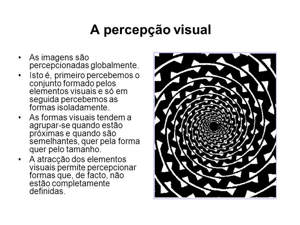 A percepção visual As imagens são percepcionadas globalmente.