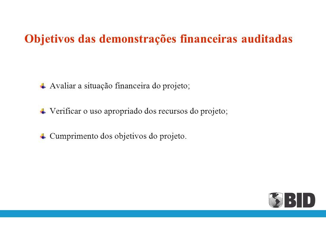 Objetivos das demonstrações financeiras auditadas