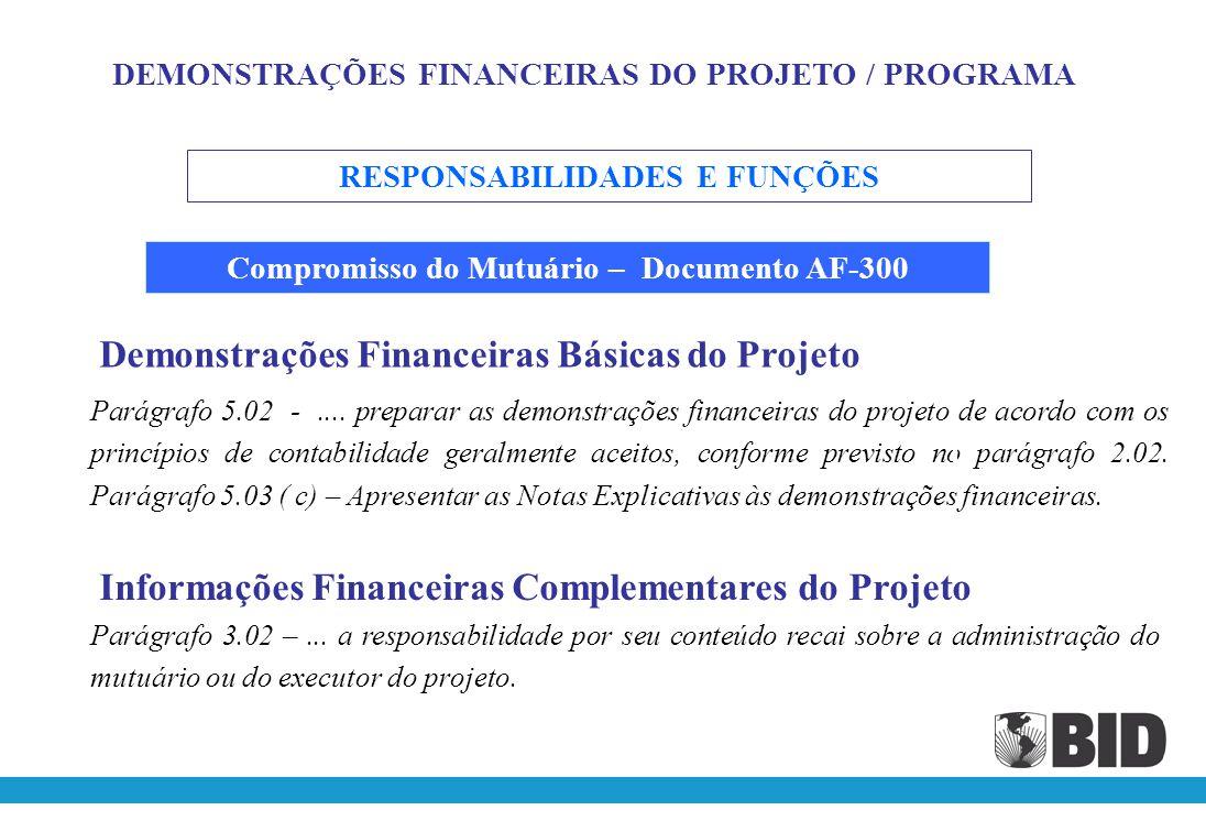 Demonstrações Financeiras Básicas do Projeto