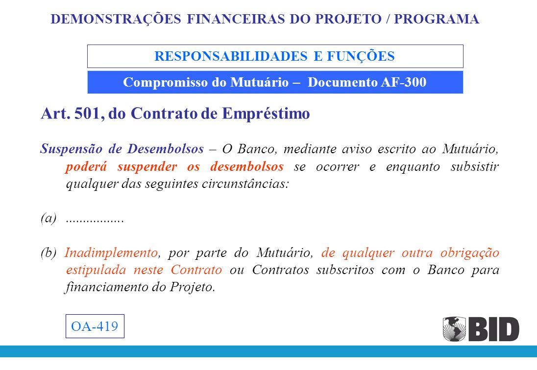 Art. 501, do Contrato de Empréstimo