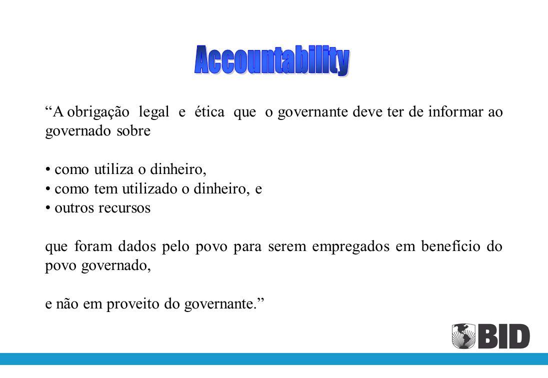 Accountability A obrigação legal e ética que o governante deve ter de informar ao governado sobre.