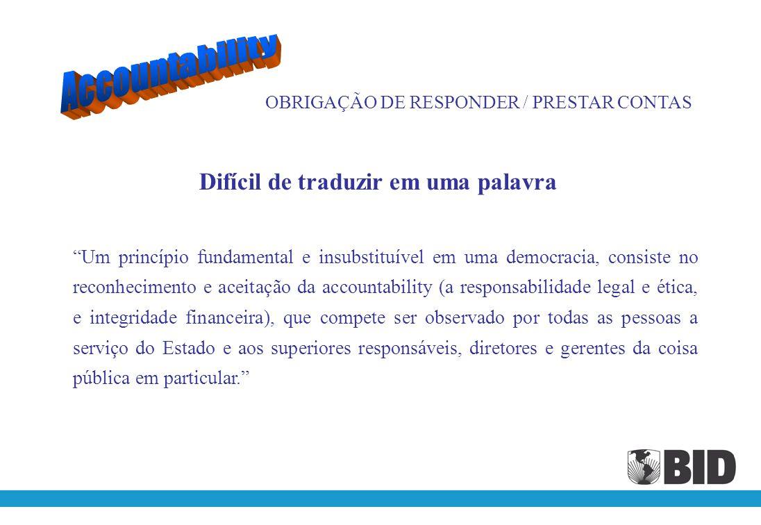 OBRIGAÇÃO DE RESPONDER / PRESTAR CONTAS