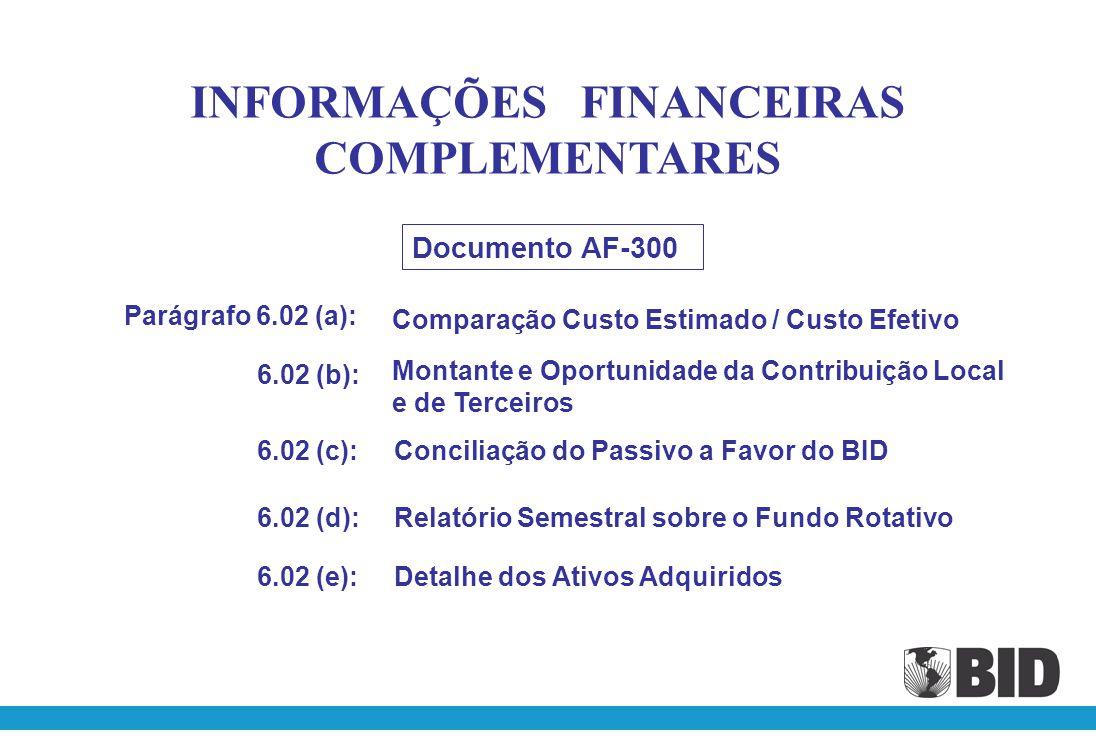 INFORMAÇÕES FINANCEIRAS COMPLEMENTARES