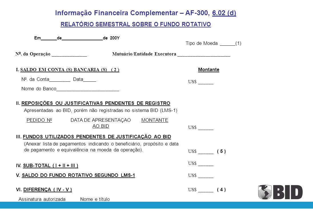 Informação Financeira Complementar – AF-300, 6.02 (d)