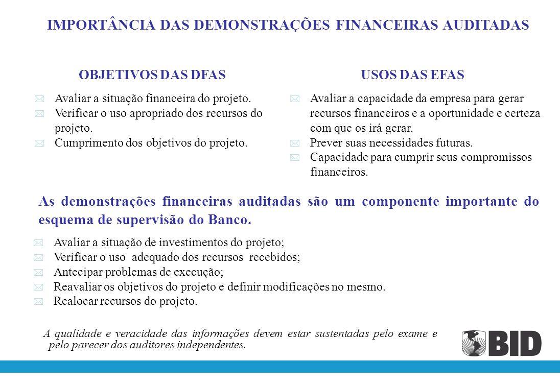 IMPORTÂNCIA DAS DEMONSTRAÇÕES FINANCEIRAS AUDITADAS