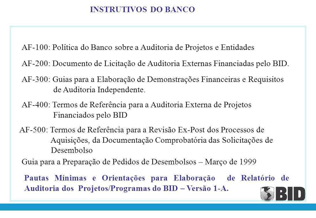 INSTRUTIVOS DO BANCO AF-100: Política do Banco sobre a Auditoria de Projetos e Entidades.