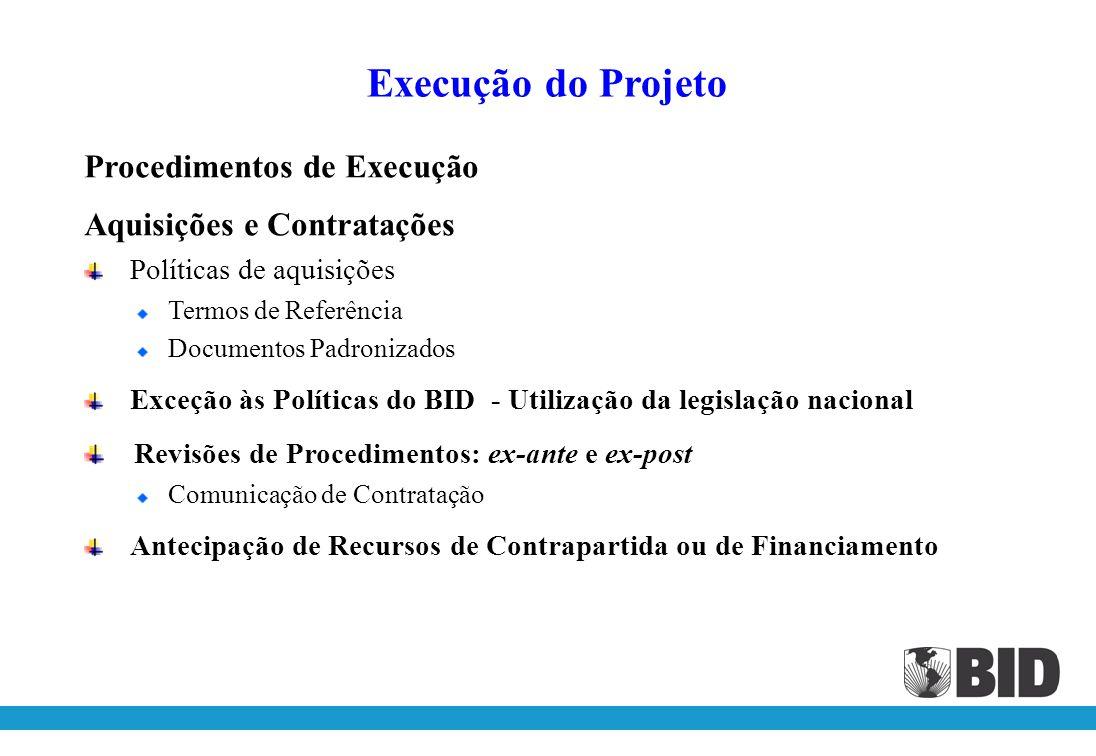Execução do Projeto Procedimentos de Execução