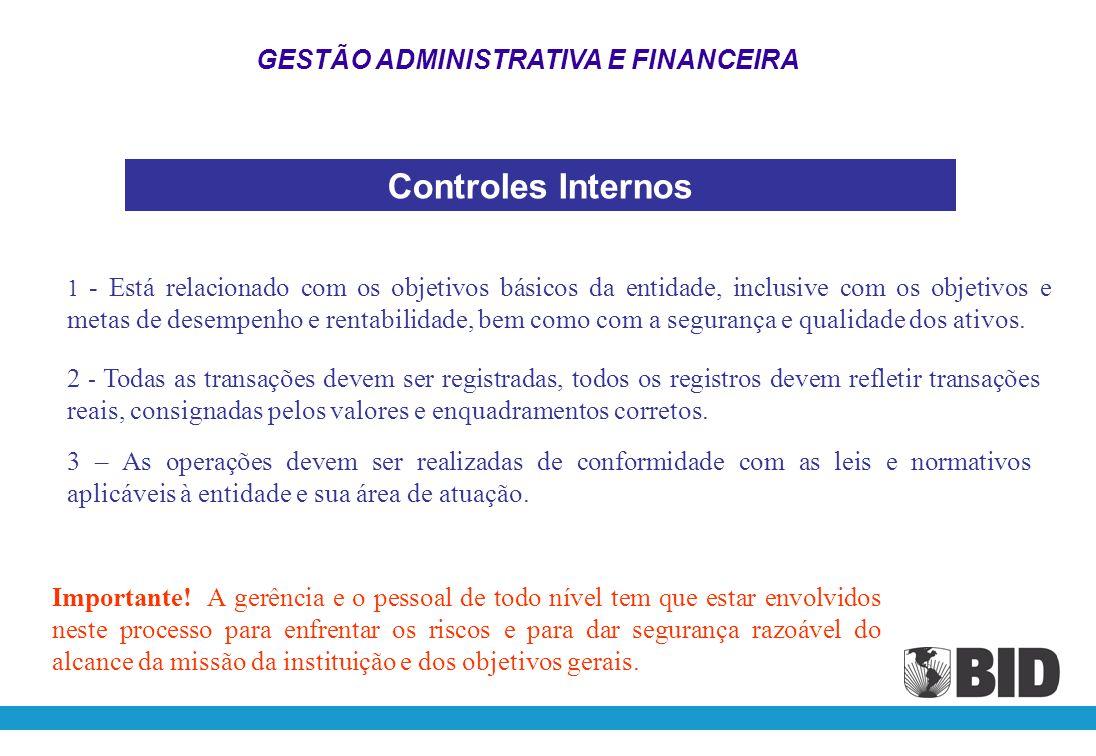 Controles Internos GESTÃO ADMINISTRATIVA E FINANCEIRA