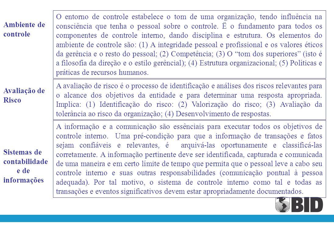 O entorno de controle estabelece o tom de uma organização, tendo influência na consciência que tenha o pessoal sobre o controle. Ë o fundamento para todos os componentes de controle interno, dando disciplina e estrutura. Os elementos do ambiente de controle são: (1) A integridade pessoal e profissional e os valores éticos da gerência e o resto do pessoal; (2) Competência; (3) O tom dos superiores (isto é a filosofía da direção e o estilo gerêncial); (4) Estrutura organizacional; (5) Políticas e práticas de recursos humanos.