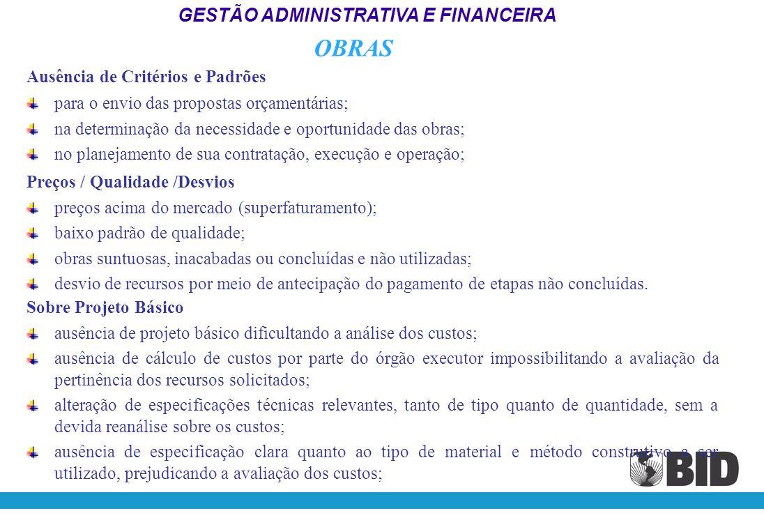 OBRAS GESTÃO ADMINISTRATIVA E FINANCEIRA