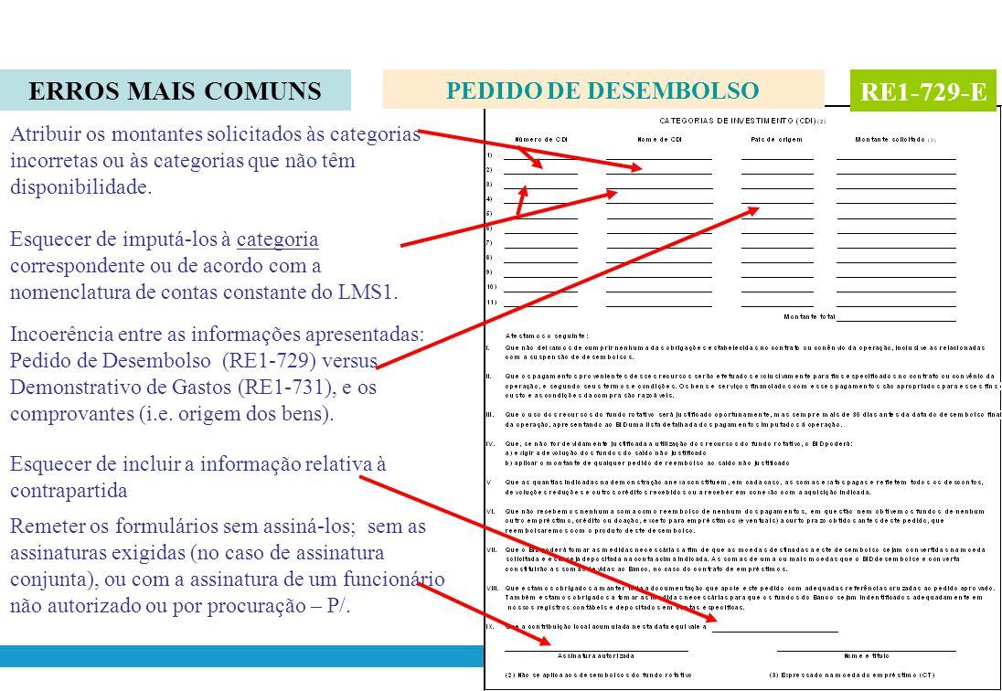 ERROS MAIS COMUNS RE1-729-E PEDIDO DE DESEMBOLSO
