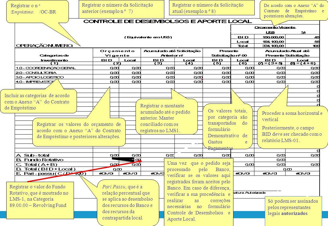 Registrar o n° Empréstimo: /OC-BR