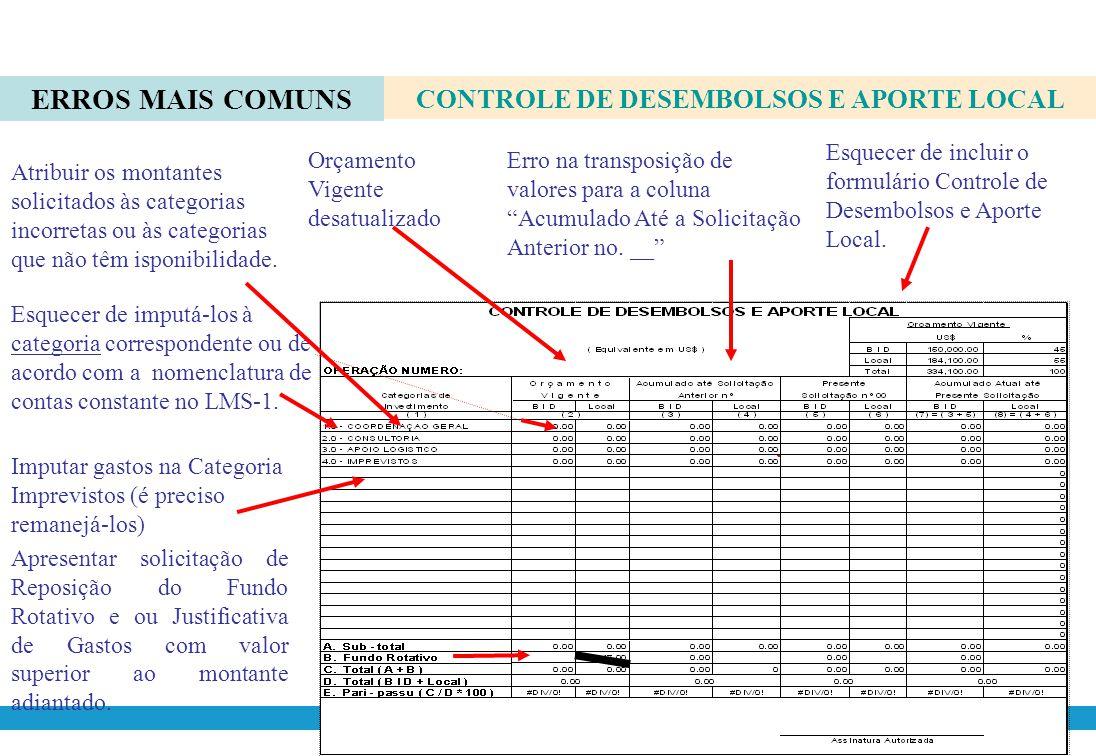 CONTROLE DE DESEMBOLSOS E APORTE LOCAL