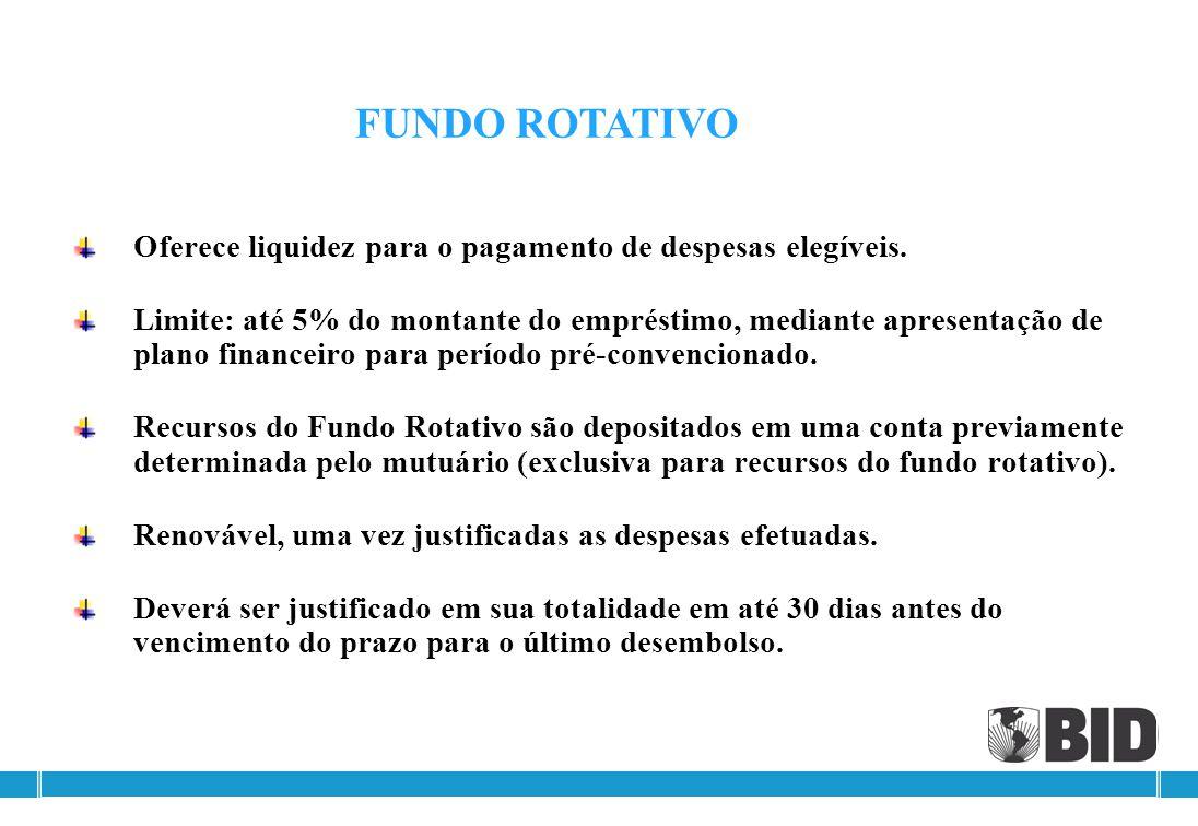 FUNDO ROTATIVO Oferece liquidez para o pagamento de despesas elegíveis.