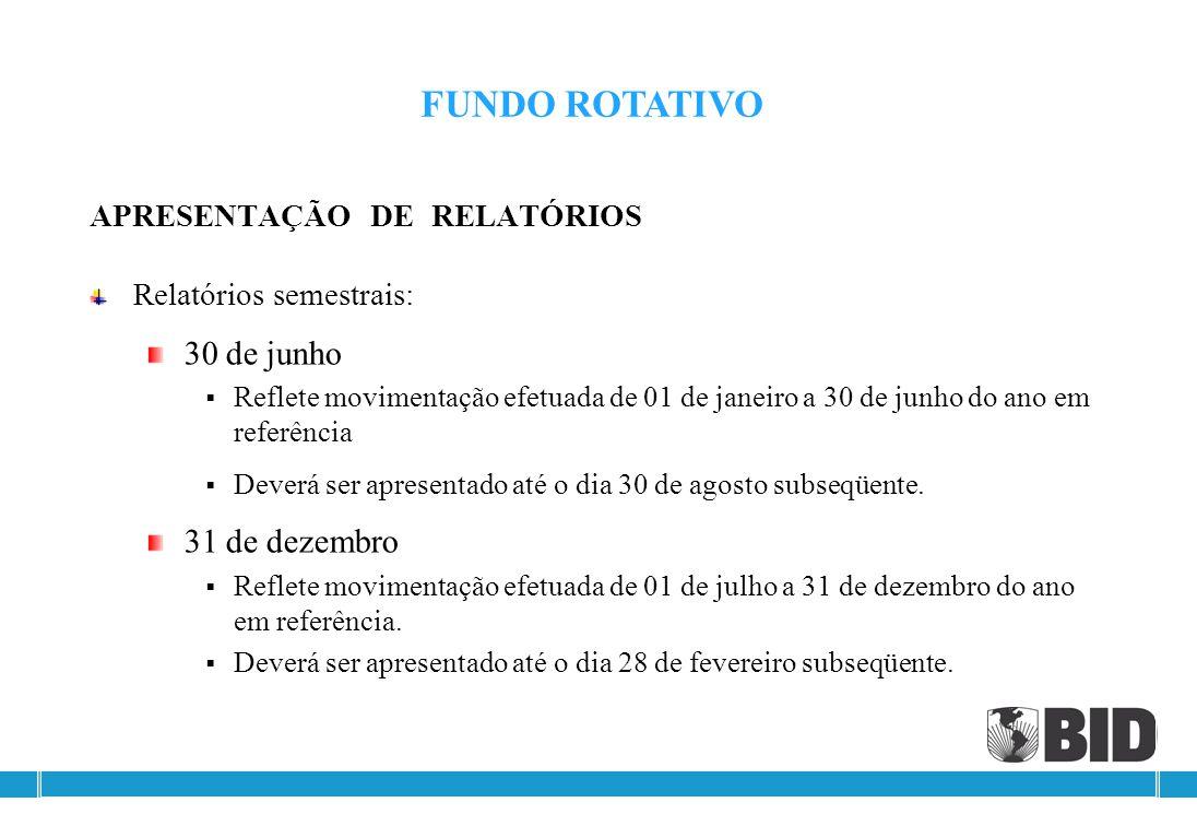 FUNDO ROTATIVO 30 de junho 31 de dezembro APRESENTAÇÃO DE RELATÓRIOS