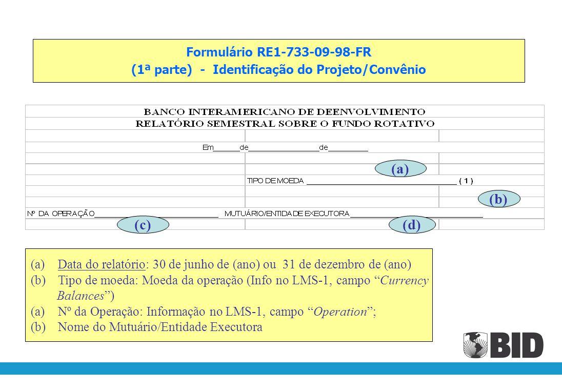 (1ª parte) - Identificação do Projeto/Convênio