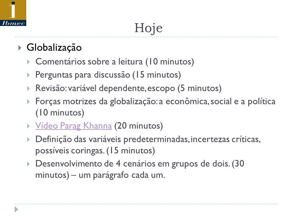 Hoje Globalização Comentários sobre a leitura (10 minutos)