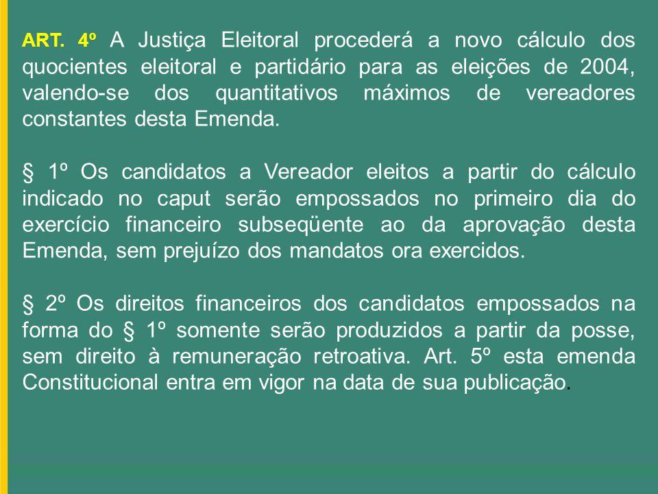 ART. 4º A Justiça Eleitoral procederá a novo cálculo dos quocientes eleitoral e partidário para as eleições de 2004, valendo-se dos quantitativos máximos de vereadores constantes desta Emenda.