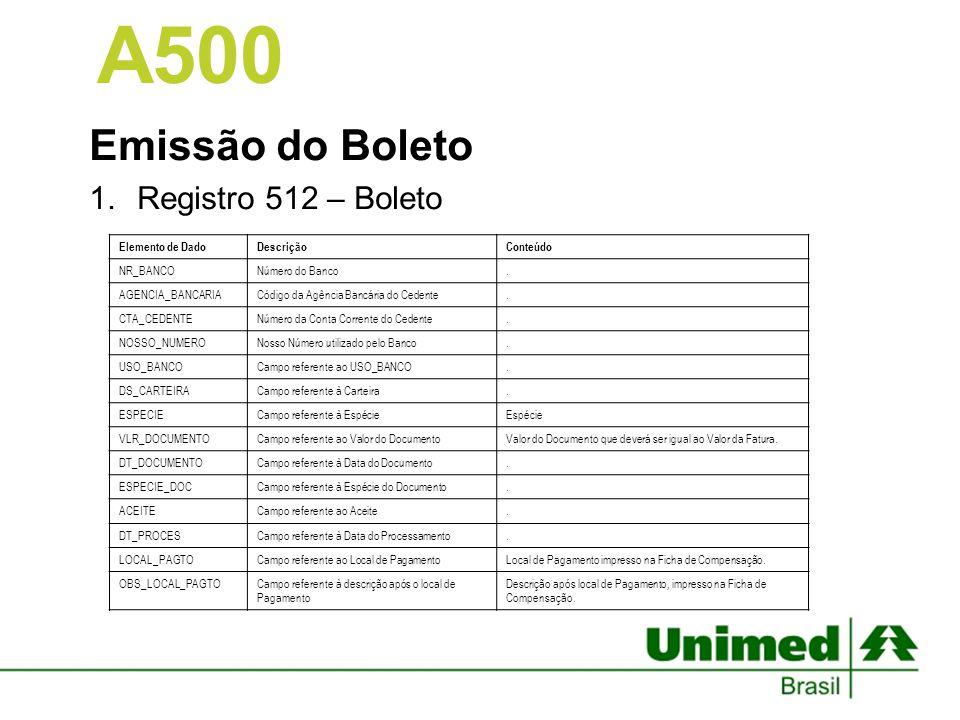 Emissão do Boleto Registro 512 – Boleto