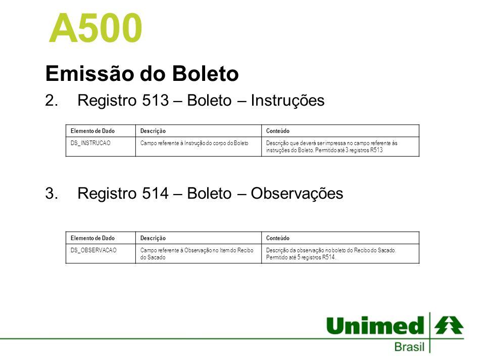 A500 Emissão do Boleto Registro 513 – Boleto – Instruções