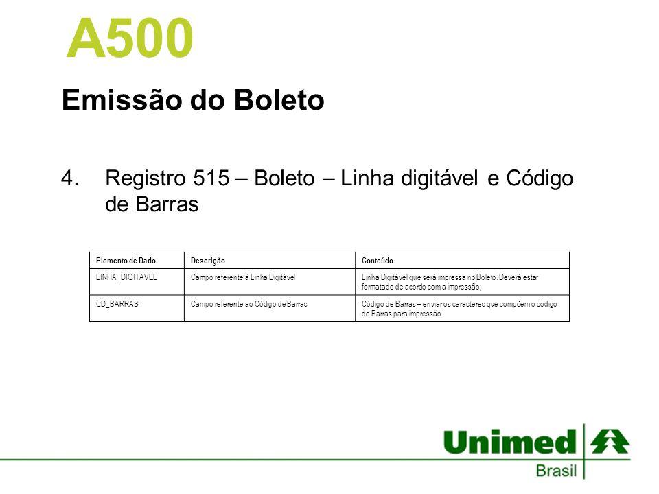 A500 Emissão do Boleto. Registro 515 – Boleto – Linha digitável e Código de Barras. Elemento de Dado.