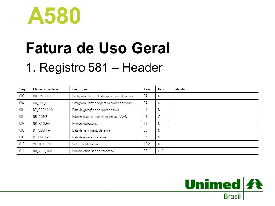 Fatura de Uso Geral Registro 581 – Header