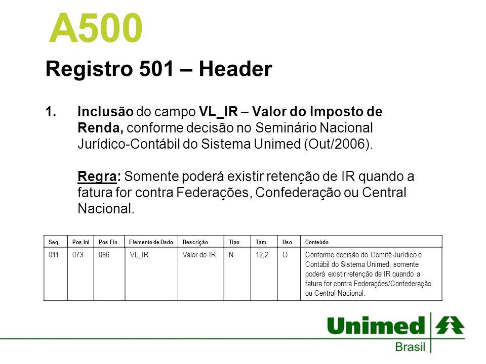 A500 Registro 501 – Header.