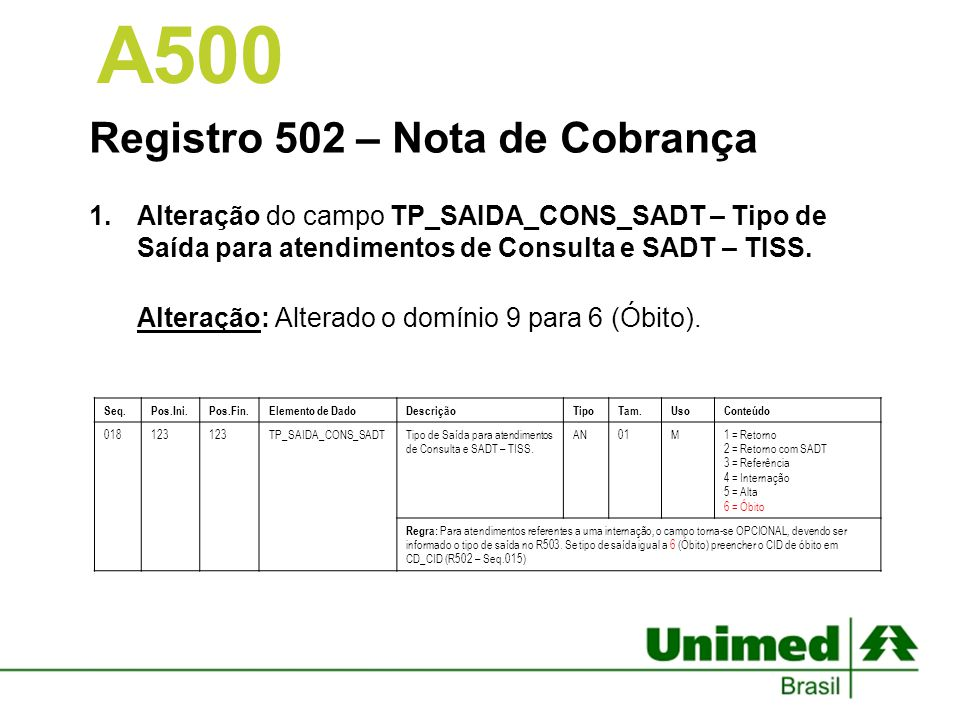 A500 Registro 502 – Nota de Cobrança