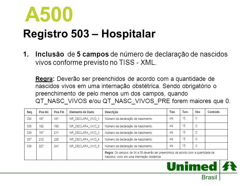 A500 Registro 503 – Hospitalar