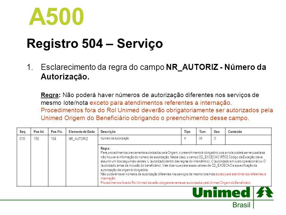 A500 Registro 504 – Serviço.