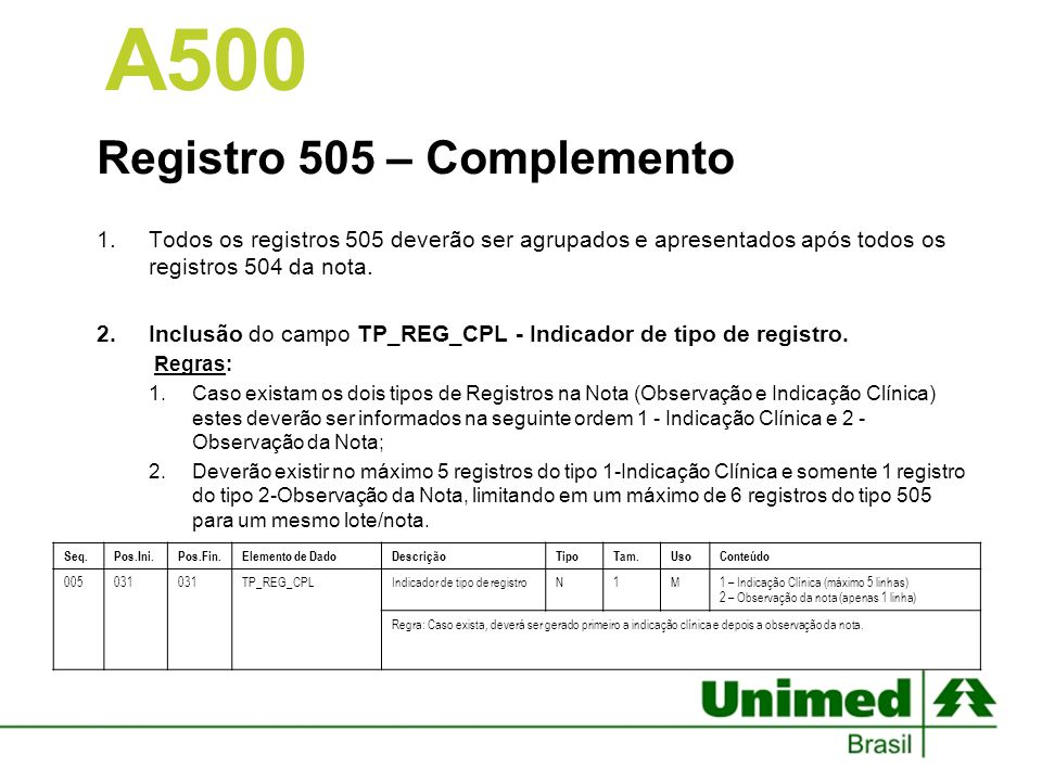 A500 Registro 505 – Complemento
