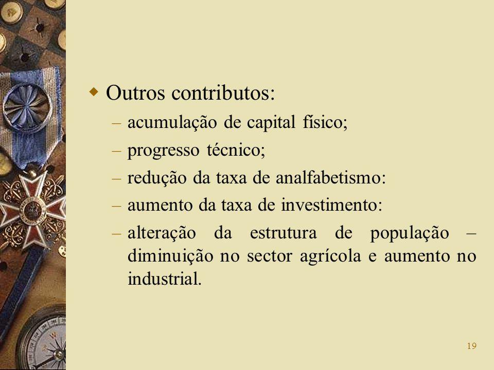 Outros contributos: acumulação de capital físico; progresso técnico;
