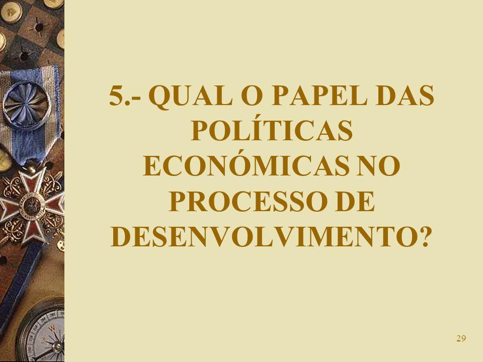 5.- QUAL O PAPEL DAS POLÍTICAS ECONÓMICAS NO PROCESSO DE DESENVOLVIMENTO