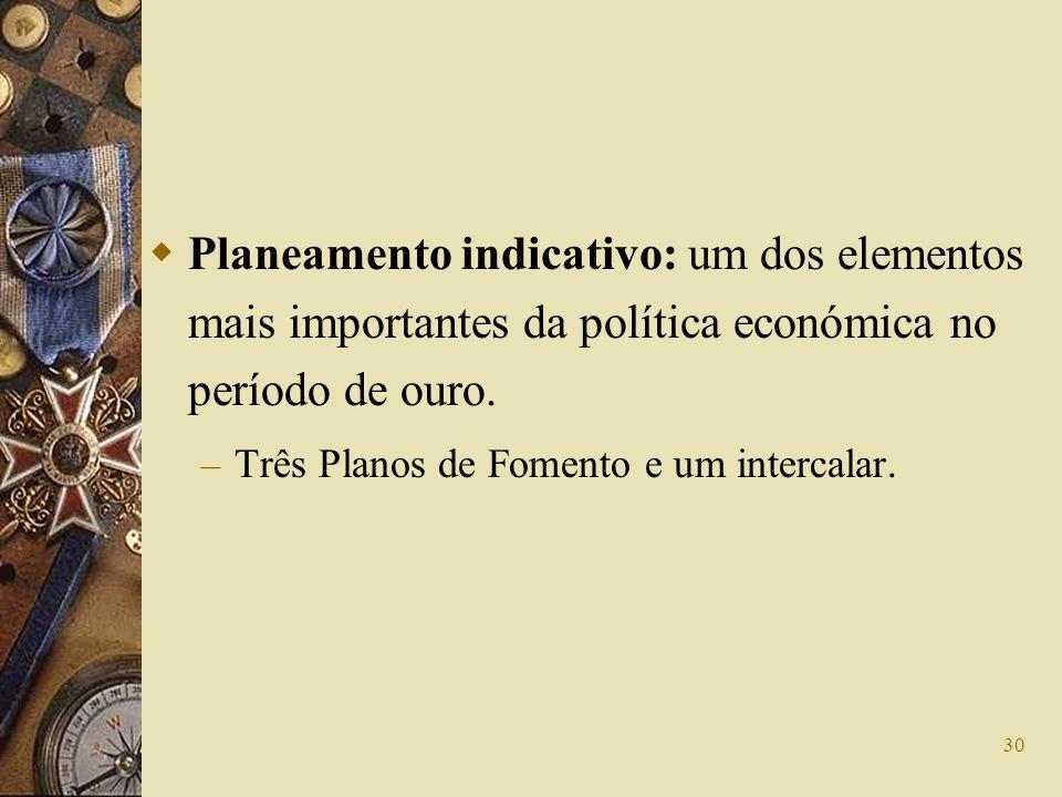 Planeamento indicativo: um dos elementos mais importantes da política económica no período de ouro.
